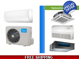 Midea 24000 BTU Mini Split Hyper Heat Pump AC Ductless Cassette Ducted